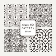 Set of vector seamless patterns in the style of mosaics and tiles - stock illustration