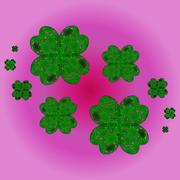 lucky shamrocks on a clover with four leaves - stock illustration