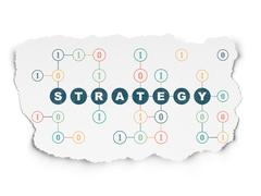 Business concept: Strategy on Torn Paper background - stock illustration