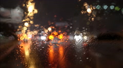 The view of the city through the blur windscreen. Left side traffic - stock footage