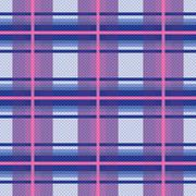 Seamless checkered pattern in violet, blue and pink - stock illustration