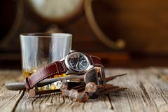Whiskey and old rust tools - stock photo