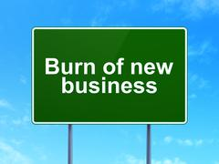 Stock Illustration of Business concept: Burn Of new Business on road sign background