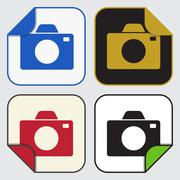 Four square sticky icons - camera Stock Illustration