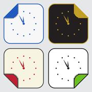 Four square sticky icons - last minute clock Stock Illustration