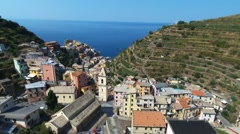 Aerial view of Manarola, Cinque Terre, Italy Stock Footage