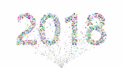 Round glitter forming the year 2018 Stock Footage