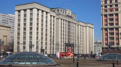 Establishing sunny shot of Russian legislative body State Duma. Moscow. 4K video Stock Footage