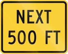 United States MUTCD road sign - Next 500 Feet Stock Illustration