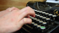 Hand Typing on Typewriter. - stock footage
