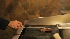 Meat poured by sauce on the grill Stock Footage