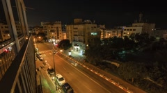 Street of the city of Tel Aviv time lapse. Night to day Stock Footage