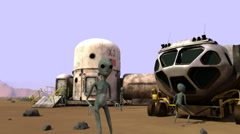 Martians Discover U.S. Outpost on Mars - stock footage