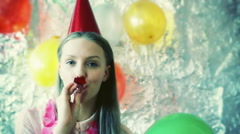 Pretty girl playing with balloon and smiling to the camera, steadycam shot Stock Footage