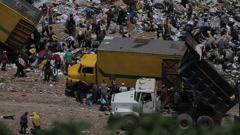 Truck dumping trash in Guatemala Dump Stock Footage