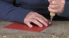 Stock Video Footage of leather goods master craftsman at work