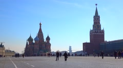 Unrecognizable tourists on Red square in Moscow, Russia. Sunny day 4K shot Stock Footage