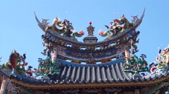Asian Dragon on a roof in Taiwan Chinese Tao temple Stock Footage