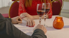 video 4K man and girl woman evening in restaurant drinking roman - stock footage