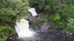 Eas Chia-aig Waterfall, Loch Arkaig, Scotland Stock Footage