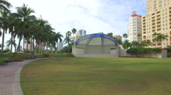 Meyer Amphitheater sound stage in the park Stock Footage