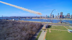 Stock Video Footage of Simulated missile or asteroid hitting St. Louis Arch