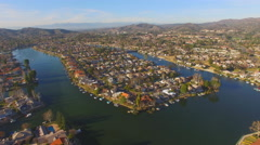 AERIAL ESTABLISHING SHOT OVER WESTLAKE VILLAGE, CA.  4K Stock Footage