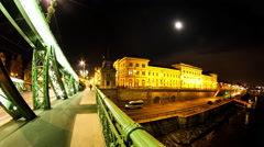 Timelapse view from the Liberty Bridge on the Corvinus Building in Budapest Stock Footage
