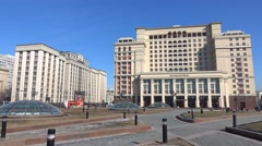 Manezhnaya square and Russian State Duma on sunny day. Moscow, March, 10, 2016 Stock Footage