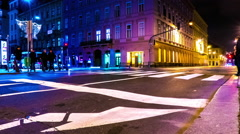 Traffic in Budapest at night Stock Footage