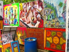 LAS TERRENAS, SAMANA, DOMENICAN REPUBLIC FEBRUARY 08 A lot of art at sale in  Stock Footage