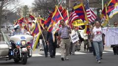 Free Tibet March, Connecticut Avenue, Washington, DC - stock footage