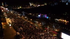 New Year's Eve Party on the Princes Street in Edinburgh Stock Footage