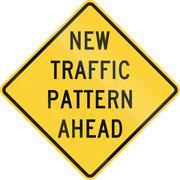 United States MUTCD road sign - New traffic pattern ahead - stock illustration