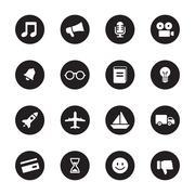 black flat transport and miscellaneous icon set on circle - stock illustration