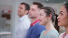 4K Happy business group laughing & clapping the speaker at business presentation - stock footage