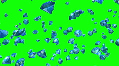 Diamonds Falling on Greenscreen (Loop) Stock Footage