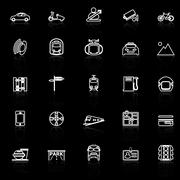 Land transport related line icons with reflect on black Stock Illustration
