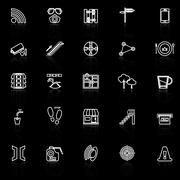 Pathway related line icons with reflect on black - stock illustration
