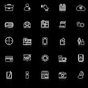 Mobile line icons with reflect on black - stock illustration