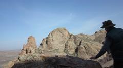 Binocular, traveler, hiking Stock Footage
