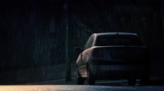Car By Side Of Road In Snowy Weather Stock Footage
