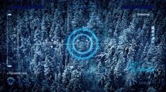 Drone Scanning Frozen Landscape POV Stock Footage