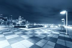 Marble floor with cityscape of seattle at night Kuvituskuvat
