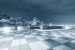Marble floor with cityscape of seattle at night Kuvituskuvat