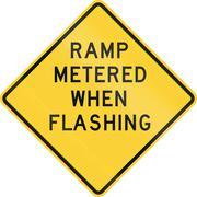 United States MUTCD warning road sign - Ramp metered when flashing - stock illustration