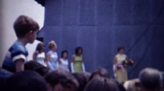 1962: Beauty pageant contest winner trophy flower bouquet. - stock footage