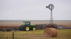 Farm Tractor Windmill Stock Footage