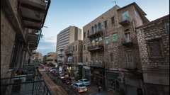Day to night timelapse of the street in the city of Haifa, Israel Stock Footage
