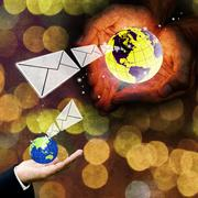 Contact us with email concept Stock Photos